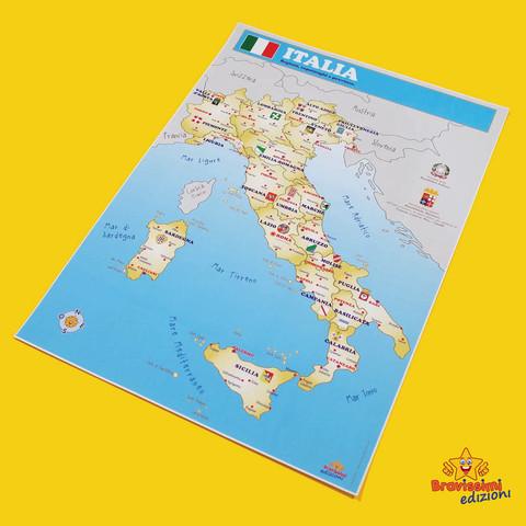 Cartina Regionale Dell Italia.Cartina D Italia Regioni Capoluoghi Di Province E Citta Bravissimi